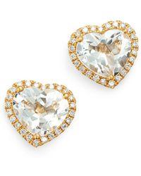 Kiki McDonough - 18k Yellow Gold Grace White Topaz & Diamond Heart Earrings - Lyst