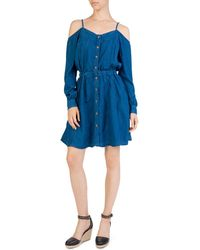 The Kooples - Cold-shoulder Chambray Dress - Lyst
