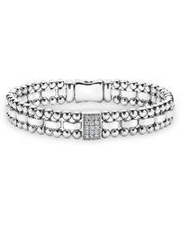 Lagos - Sterling Silver Caviar Spark Diamond Rectangle Link Bracelet - Lyst