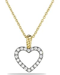 David Yurman - Cable Collectibles Heart Pendant With Diamonds In Gold On Chain - Lyst