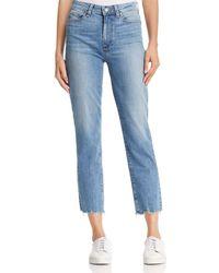 PAIGE - Jacqueline Straight Distressed-hem Jeans In Elmira - Lyst