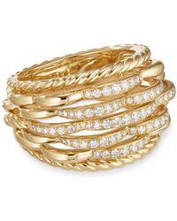 David Yurman - Tides Woven Ring In 18k Yellow Gold With Diamonds - Lyst