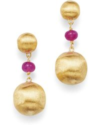 Marco Bicego - 18k Yellow Gold Africa Precious Ruby Drop Earrings - Lyst