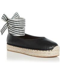 Avec Les Filles - Women's Georgie Leather Ankle Tie Platform Espadrille Flats - Lyst