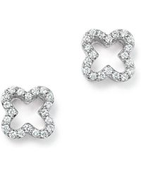 Bloomingdale's - Diamond Clover Stud Earrings In 14k White Gold, .20 Ct. T.w. - Lyst