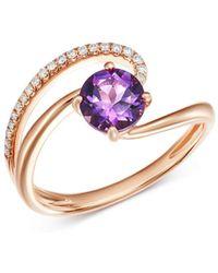 Bloomingdale's - Amethyst & Diamond Cocktail Ring In 14k Rose Gold - Lyst