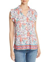 c53b240793bed Tolani - Floral-print Ruffled Top - Lyst