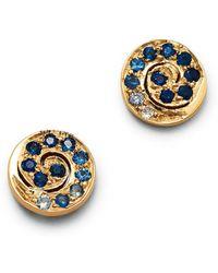 Shebee - 14k Yellow Gold Ombré Sapphire Spiral Stud Earrings - Lyst