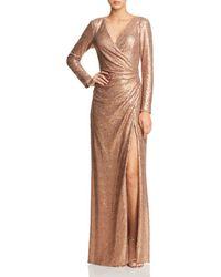 Tadashi Shoji - Sequined Faux-wrap Gown - Lyst