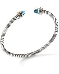 David Yurman - Renaissance Bracelet With Blue Topaz & 18k Yellow Gold - Lyst