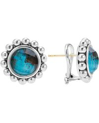 Lagos - Sterling Silver Maya Escape Chrysocolla Doublet Round Omega Clip Earrings - Lyst