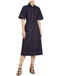 Burberry - Carmen Topstitched Midi Shirt Dress - Lyst
