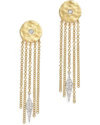 Meira T - 14k White And Yellow Gold Disc And Fringe Earrings With Diamonds - Lyst