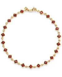 Bloomingdale's - Garnet Station Bracelet In 14k Yellow Gold - Lyst