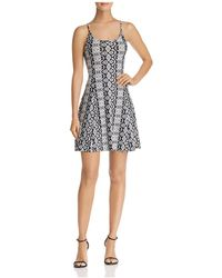Aqua - Printed Fit-and-flare Dress - Lyst
