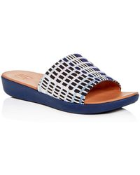 1e213aaf6 Fitflop Women's Sola Leather Platform Slide Sandals in Pink - Lyst