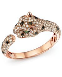Bloomingdale's - Diamond And Tsavorite Panther Ring In 14k Rose Gold - Lyst