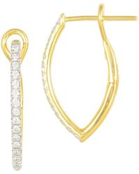 Frederic Sage - 18k Yellow Gold Diamond Marquise Small Hoop Earrings - Lyst