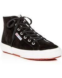9284b00f919e Lyst - Superga 2795 Leather Hi Top Sneakers in Black