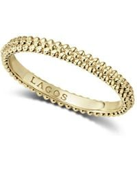 Lagos - Caviar Gold Collection 18k Gold Triple Beaded Stacking Ring - Lyst