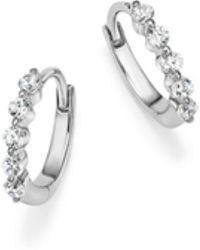 Bloomingdale's - Diamond Mini Hoop Earrings In 14k White Gold, .25 Ct. T.w. - Lyst