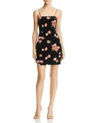 Aqua - Floral Velvet Body-con Slip Dress - Lyst