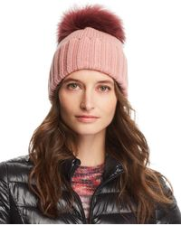 Inverni - Foldover Knit Beanie With Asiatic Raccoon Fur Pom-pom - Lyst