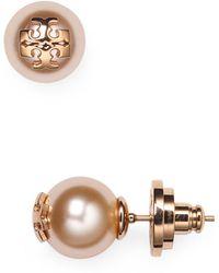 Tory Burch - Simulated Pearl Stud Earrings - Lyst