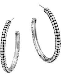 John Hardy - Dot Small Sterling Silver Hoop Earrings/1 - Lyst