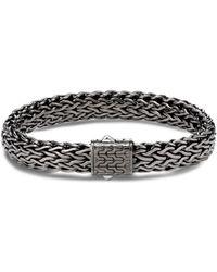 John Hardy - Sterling Silver Classic Chain Matte Black Rhodium Wide Flat Chain Bracelet - Lyst