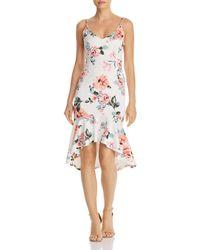 Aqua - Floral Print Flounced-hem Dress - Lyst