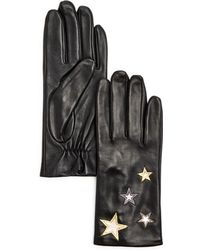 Aqua - Star-embroidered Leather Tech Gloves - Lyst
