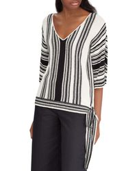 Ralph Lauren - Lauren Striped Side-tie Sweater - Lyst