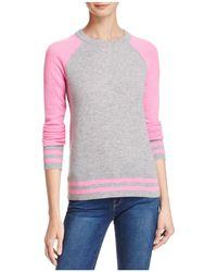 Aqua | Cashmere Baseball Crewneck Sweater | Lyst
