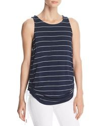 Kenneth Cole - Ruched Drawstring Striped Tank - Lyst