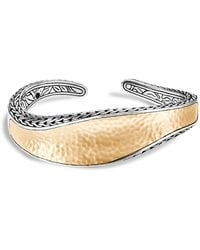 John Hardy - Sterling Silver & 18k Bonded Gold Classic Chain Hammered Medium Kick Cuff - Lyst