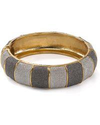 ABS By Allen Schwartz Gold-tone Grey Textured Bangle Bracelet