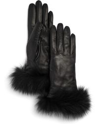 Bloomingdale's - Fox-fur Trimmed Leather Gloves - Lyst