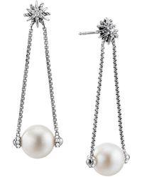David Yurman - Starburst Pearl Drop Earrings With Diamonds - Lyst