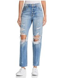 Pistola - Presley High-rise Distressed Girlfriend Jeans In Rock Or Bust - Lyst