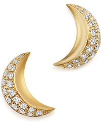Temple St. Clair | 18k Yellow Gold Cresent Moon Earrings With Pavé Diamonds | Lyst