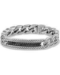 David Yurman - Maritime Curb Link Id Bracelet With Black Diamonds - Lyst