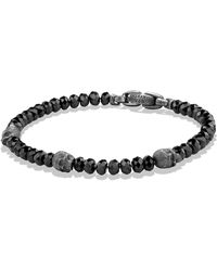 David Yurman - Spiritual Beads Skull Station Bracelet In Black Spinel - Lyst