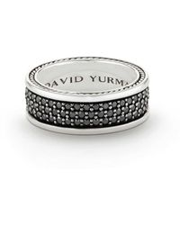 David Yurman - Streamline Three-row Band Ring With Black Diamonds - Lyst
