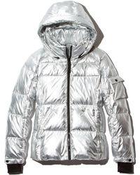 Aqua - Metallic Hooded Puffer Jacket - Lyst