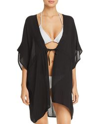 Echo Open - Front Caftan Swim Cover - Up - Black