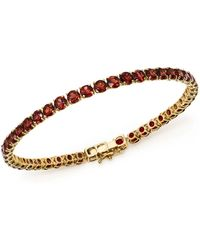 Bloomingdale's - Garnet Tennis Bracelet In 14k Yellow Gold - Lyst