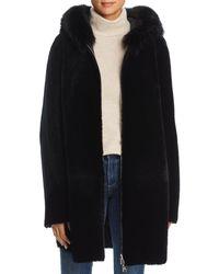 Maximilian - Reversible Lamb Shearling Coat With Fox Fur Trim - Lyst