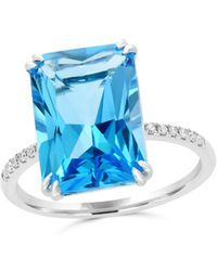 Bloomingdale's - Blue Topaz And Diamond Statement Ring In 14k White Gold - Lyst