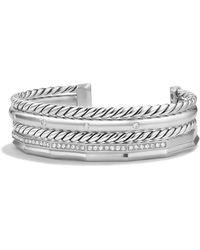 David Yurman - Stax Narrow Cuff Bracelet With Diamonds - Lyst